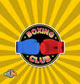 Boxing labels boxing gloves emblem club vector