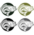 Set of labels wit large moutn bass vector