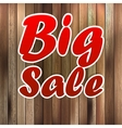 Big sale label over wood background vector