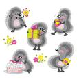 Funny cartoon hedgehogs vector