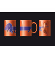 Orange cup with a picture of dogs shown from three vector