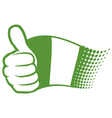 Flag of nigeria and hand showing thumbs up vector