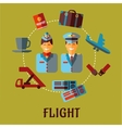 Flat air traveling infographic with text flight vector