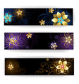 Banner with abstract flowers vector