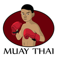 Muay thai kid vector