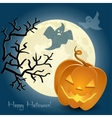 Pumpkin ghosts and a tree in front of the moon vector