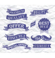 Set of retro ribbons and labels blue pen vector