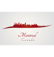 Montreal skyline in red vector