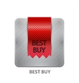 Red ribbon mobile app button vector
