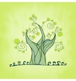 Tree with branches and leaves fresh grass vector