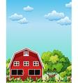 A red barnhouse near the trees vector