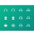 Earphones icons on green background vector