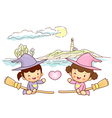 Little witch sky travel vector
