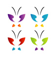 Butterfly logo in rainbow colors vector