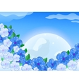 Blue white flower in front of thee moon in the sky vector