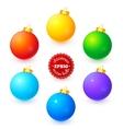 Rainbow colors christmas balls set vector
