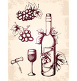 Rawn vector vintage wine icons vector