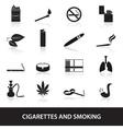 Smoking and cirarettes simple black icons set vector