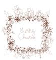 Cute doodle christmas frame sketch vector