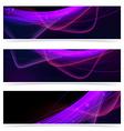 Web neon swoosh line bright header set vector