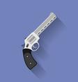 Icon of revolver pistol gun flat style vector