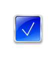Check mark icon on blue button vector