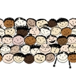 Crowd of funny peoples seamless background for vector