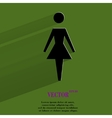 Woman restroom flat modern web button with long vector