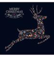 Merry christmas vintage reindeer greeting card vector