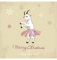New year card with a dancing white goat vector