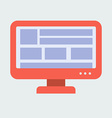 Flat design red monitor woth blocks of information vector