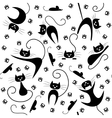 Seamless pattern with black cats paw prints and vector