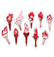 Flaming retro torches vector