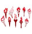 Flaming retro torches vector