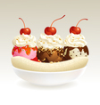 Ice cream banana split vector