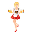 Sexy oktoberfest woman in dirndl with beer vector