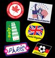 Travel landmark stamp set vector