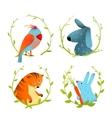 Set of cartoon domestic animals portraits vector