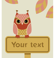 Owl with sign vector