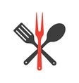 Icon of kitchen tools fork spoon and fry shovel vector