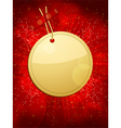 Gold christmas gift tag taped to a glowing red bac vector