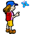 Girl pointing butterfly vector