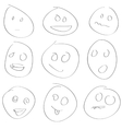Scetch smile set vector