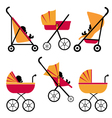 Baby carriages set vector