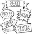 Doodle label tag banner vote vector