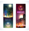 City at night vertical banners vector