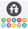 Couple sign icon male love female lovers vector