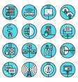 Network icons set blue line vector