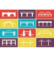 Modern bridge icons on colorful background designs vector