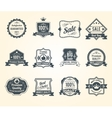 Black retro sales labels icons collection vector